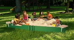 10' by 10' Sandbox - With Cover, 4-Corner Seats, 1-Bench Sea