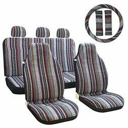 10pc Stripe Multi-Color Seat Cover Baja Saddle Blanket Weave
