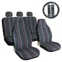 10pc Stripe Colorful Seat Cover Baja Blue Saddle Blanket Wea