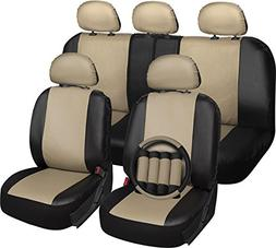 OxGord 17pc Faux Leather Tan/Black Car Seat Covers Set - Air