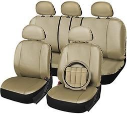 OxGord 17pc Set Faux Leather Solid Tan Auto Seat Covers Set