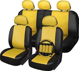 OxGord 17pc Set Faux Leather Yellow Black Auto Seat Covers -
