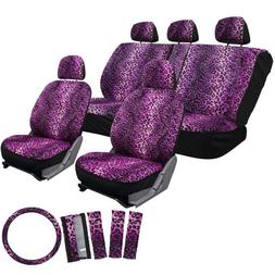 OxGord 17pc Set Leopard Animal Print Auto Seat Covers Set -