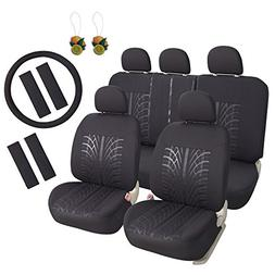 Leader Accessories 17pcs Black Auto Car Seat Cover Full Set