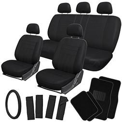 OxGord 21pc Black Flat Cloth Seat Covers with Carpet Floor M