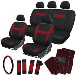 OxGord 21pc Flat Cloth Seat Covers with Carpet Floor Mats fo