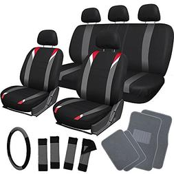 OxGord 21pc Flat Cloth Seat Covers with Gray Carpet Floor Ma
