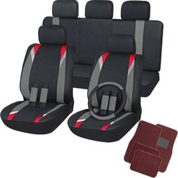 OxGord 21pc Flat Cloth Seat Covers with Red Carpet Floor Mat
