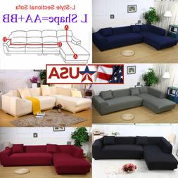 2PC High Quality Stretch Suede Sectional Sofa Cover Slipcove