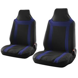 OxGord 2pc Integrated Flat Cloth Bucket Seat Covers Y Stripe