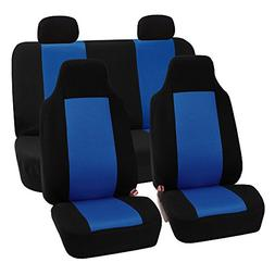 FH Group 3D Air-mesh Full Set Car Seat Covers, Blue and Blac
