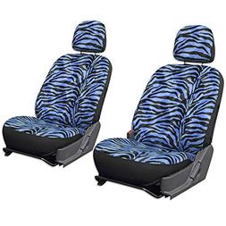 OxGord 6pc Set Zebra Animal Print Auto Seat Covers Set - Fro