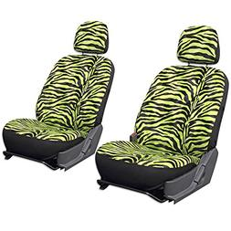 OxGord 6pc Zebra Animal Print - Velour - Bucket Seat Cover f
