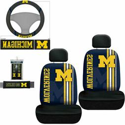 7pc Set NCAA Michigan Wolverines Car 2 Front Seat Covers Ste