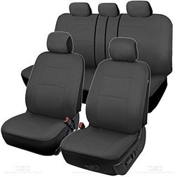 BDK Charcoal Black Car Seat Covers Full 9pc Set - Sleek & St