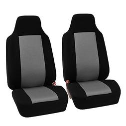 FH-FB102102 Classic Cloth Car Pair Set Seat Covers Gray/Blac
