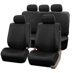 FH Group PU002BLACK115 Black Faux Leather Seat Cover