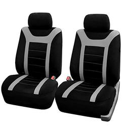 FH Group Sports Fabric Car Seat Covers Pair Set , Gray/Black