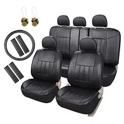 Leader Accessories 17pcs Black Faux Leather Car Seat Covers
