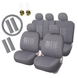 Leader Accessories Embossed Cloth Grey 17pcs Car Seat Covers