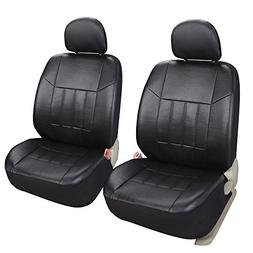 Leader Accessories Auto 2 Leather Black Seat Covers Universa