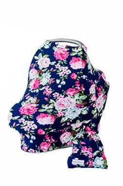 Baby Car Seat Canopy Floral - Nursing Breastfeeding Cover -