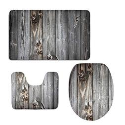 CHAQLIN Bath Mat,Wood,Rustic Old Barn Wood Bathroom Carpet R