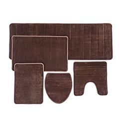 Bathroom Rug Mat, 5-Piece Set Memory Foam, Extra Soft Non-Sl