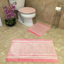 3-PIECE BATHROOM RUG SETS | Anti-Bacterial Rubber Back Non-S
