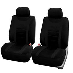 FH Group Black Airbag Compatible Sports Car Seat Cover, Half