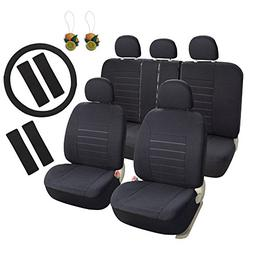 Leader Accessories Black Car Seat Covers Full Set 17pcs with