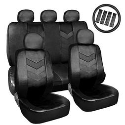 uxcell Black Faux Leather Car Auto Seat Cover Set w/Headrest