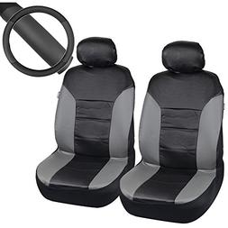 Motor Trend Black/Gray Two Tone PU Leather Car Seat Covers &