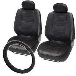 black leatherette front seat covers genuine leather