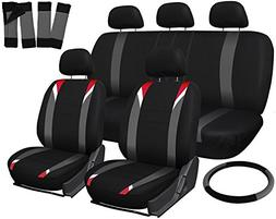 OxGord 17pc Black, Gray, & Red Flat Cloth Seat Cover Set, Un