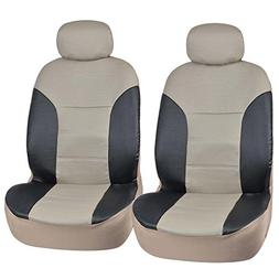 Motor Trend BlackBeige Two Tone PU Leather Car Seat Covers -