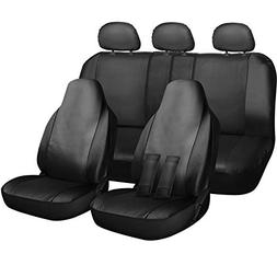 OxGord Car Seat Cover - PU Leather Solid Black with Front Lo
