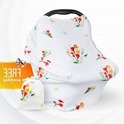 Premium Carseat Canopy Cover for Girls - Nursing Baby Car Se