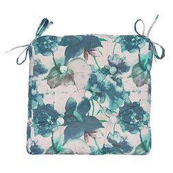 Pure Cotton Handmade Square Chair Pad in Blue Floral Design
