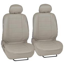Custom Auto Crews - Taupe Beige PU Leather Seat Covers Front