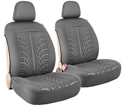 Leader Accessories Embossed 2 Car Front Seat Covers Grey Sid