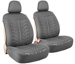 embossed 2 car front seat covers grey