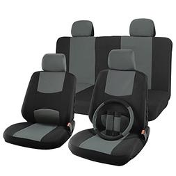 OxGord H Stripe 17-Piece Seat Covers Set with Steering Wheel