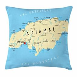 Ambesonne Jamaican Throw Pillow Cushion Cover, Map of Jamaic