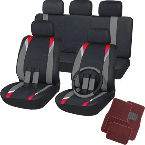 21pc flat cloth seat covers with red