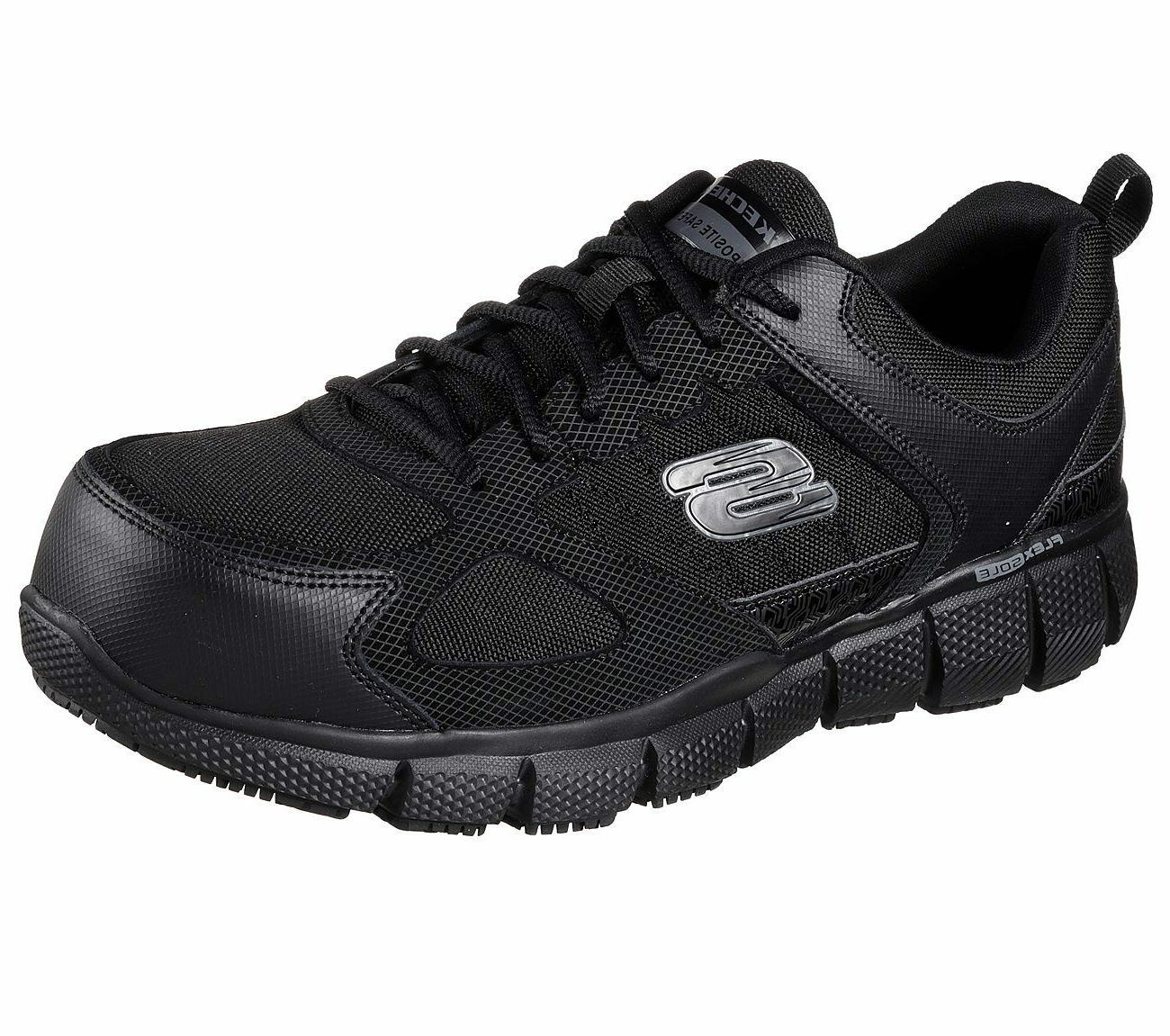 77132 Wide Fit Black Skechers shoes Work Men Memory Foam Sli