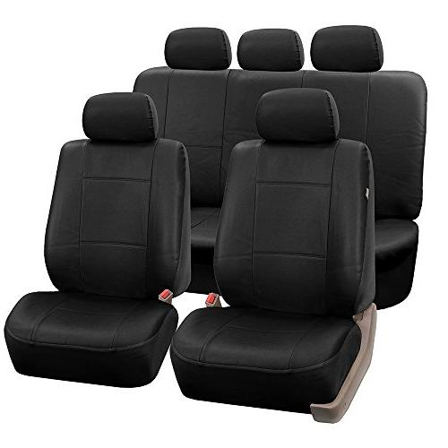 pu002black115 black faux leather seat cover full