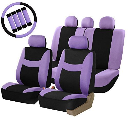 FH Group FB030PURPLE-COMBO Seat Cover Combo Set with Steerin