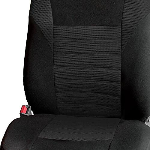 FH Group FB068102 3D Air Seat Covers Pair Black Color- Fit Most Car, SUV, or Van