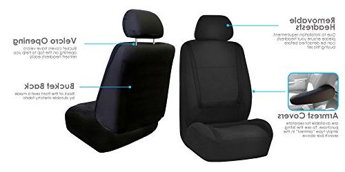 Flat Cloth Seat w. Headrests and Solid Bench Black- Fit Most SUV,